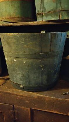 Primitive blue buckets. Prim Decor, Primitive Decor, Country Decor, Country Living, Wooden Basket, Churning Butter, Antique House, Potting Sheds, Antique Hardware