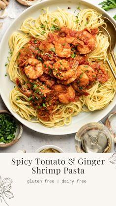 Shrimp Recipes, Fish Recipes, Pasta Recipes, Dinner Recipes, Food Platters, Healthy Salad Recipes, Dairy Free Recipes, Clean Eating Recipes, Pasta Dishes