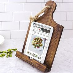 dark stained rustic wood iPad and recipe book stand personalize with either a circled large single initial or custom line of print is a useful gift idea sure to bring joy in the kitchen every day.