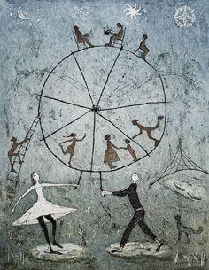 Maailmanpyörä Emmi Vuorinen etching and aquatint Ink Illustrations, Graphic Illustration, Naive, Mandala, Kids Room Murals, Art Brut, Collage, Texture Art, Printmaking