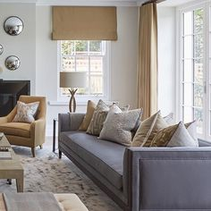 New Apartment Living Room Grey Curtains Ideas Beige And Grey Living Room, Classic Living Room, Living Room Modern, My Living Room, Living Room Interior, Living Room Designs, Living Room Decor, Interior Livingroom, Transitional Living Rooms