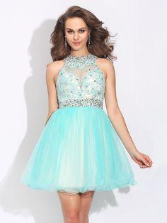 A-Line/Princess High Neck Lace Sleeveless Short/Mini Net Dresses DressyWell