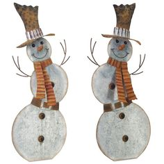 Galvanized Rustic Metal Snowman Statues, Set of 2 ($80) ❤ liked on Polyvore featuring home, home decor, holiday decorations, rustic holiday decor, snowman statue, snowman home decor, holiday snowman decorations and rustic home decor