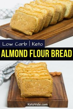 Keto Almond Flour Bread Low Carb Recipe via @ketovale Keto Almond Bread, Almond Flour Baking, Keto Bread, Almond Flour Biscuits, Paleo Flour, Vegan Bread, Keto Recipes, Flour Recipes, Ketogenic Recipes