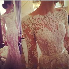 229. Wholesale Elie Saab Wedding Dress - Buy 2014 Illusion Long Sleeve Lace Wedding Dresses Winter Steven Khalil Transparent Bateau Scallop Trim ...