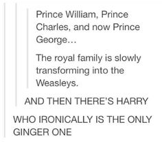 The royal family is slowly transforming into the Weasleys. And then there's Harry... xD
