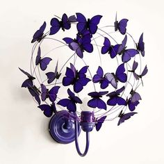 "Wall lamp with paper butterflies ""Deep Purple"" Butterfly Wall Decor, Butterfly Decorations, Outdoor Chandelier, Diy Chandelier, Chandeliers, Paper Butterflies, Paper Flowers, Room Lights Decor, Decor Room"
