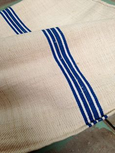 Antique Flax Linen Hand Woven Blue Stripe Grain Sack