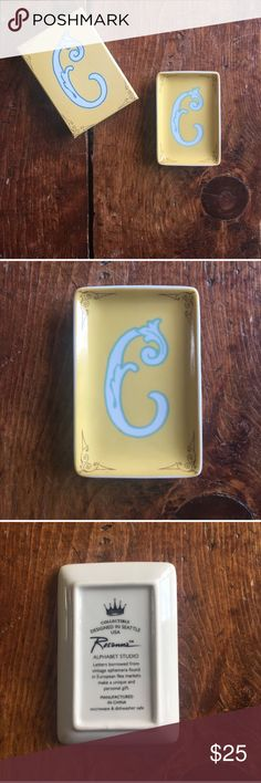 'C' Initial Jewelry Dish Yellow jewelry dish. Perfect condition. Francesca's Collections Accessories