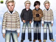 Winter Jacket for boys. Found in TSR Category 'Sims 3 Male Clothing' Toddler Boy Jeans, Toddler Outfits, Kids Outfits, Sims Baby, Sims 4 Toddler, Sims 4 Cc Skin, Sims Cc, Sims 4 Cc Kids Clothing, Sims 4 Cc Finds