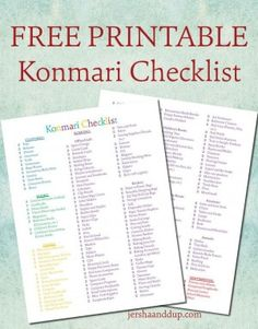 Konmari checklist for home organizing. Inspired by the book.