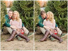 We may have to take 2 different engagement pics... One in summer then one at a Christmas tree lot! So cute!