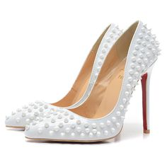 sale red bottom spiked pumps patent leather white | heels sale ☂  ✿. ☂. ✿