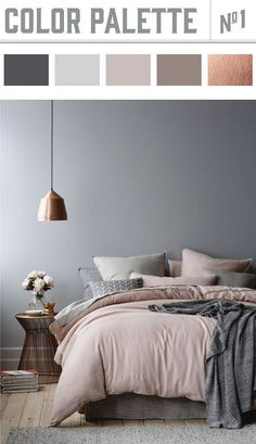 Copper and muted colors in bedroom results in a winner color palette. Wiley Valentine√ Best Paint Living Rooms Color Ideas Prodigious Badcock Furniture Bedroom Sets Ideas…Elegant Bedroom: A balanced color palette and a… Best Bedroom Colors, Bedroom Colour Palette, Palette Bed, Grey Palette, Bedroom Colour Schemes Neutral, Bedroom Decor Colours, Colour Schemes Grey, Paint Colours For Bedrooms, Home Color Schemes