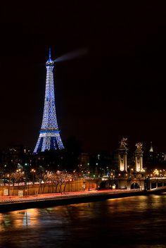 Eiffel Tower in Blue. Paris