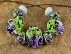 Lampwork Glass Beads Frog In My Garden SRA 471 by by carolynsbeads, $30.00