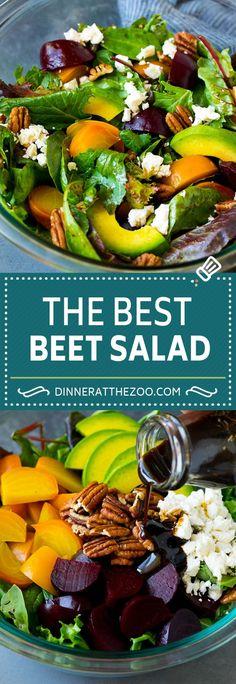 Beet Salad with Avocado and Feta - Dinner at the Zoo Recipes - Easy Salad Recipes Feta Salat, Avocado Salat, Beet Salad Recipes, Salad Dressing Recipes, Vegetable Recipes, Vegetarian Recipes, Healthy Recipes, Easy Recipes, Easy Salads