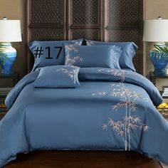 Quality Egyptian Cotton Embroidery Luxury Oriental Bedding set King Queen size Bed set Coffee Bule Duvet cover Bedsheet parrure de lit with free worldwide shipping on AliExpress Mobile Queen Size Bed Sets, Queen Size Duvet Covers, Comforter Cover, Queen Size Bedding, Duvet Cover Sets, King Size, King Comforter, Pillow Covers, Cotton Bedding Sets