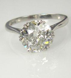 2.27ct Antique Vintage OLD EUROPEAN ROUND Cut Diamond Engagement Ring in Platinum. $14,550.00, via Etsy.