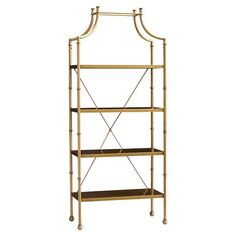 PB Teen Maison Bookcase, Gold at Pottery Barn Teen - Bookshelves - Standing Shelves Storage Mirror, Storage Shelves, Shelving, Chandeliers, Gold Etagere, Shelf Furniture, Regency Furniture, Teen Furniture, Gold Furniture