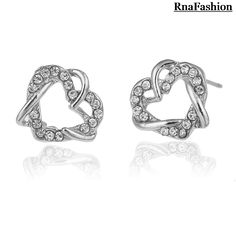 2014 Europe and the United States jewelry wholesale double love stud earrings #Affiliate