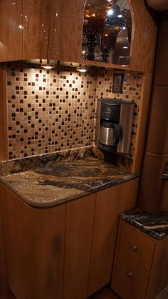 Here is an inset coffee maker in one of our newer coaches.