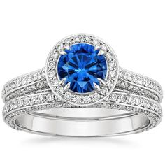 18K White Gold Sapphire Enchant Halo Diamond Matched Set (1 ct. tw.) from Brilliant Earth