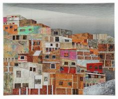 """EL CERRO (The Hill), 42 x 51"""", by Hilde Morin. Viewer's Choice Award at the Quilt Visions Biennial 2015 - The Sky's The Limit exhibit in San Diego, CA."""