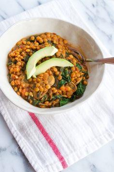 Lentil, Mushroom, Salsa and Kale Stew (halve thr salsa, lentils, and stock)