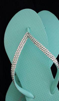 517c9b670bbdf Mint Green Wedding Bridal Bridesmaid Flip Flops with Swarovski Rhinestone  Crystals Sizes 8-10. Etsy