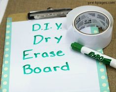 Tape Hacks for the Classroom. Make your own dry erase boards with dry erase tape and duct tape! - Pre-K Pages