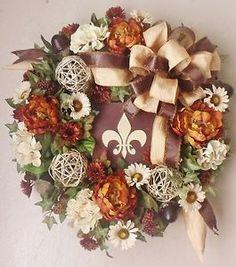 autumn door decorations   ... Custom Artificial Fall Door Wreath Swag Arrangement Home Decor   eBay