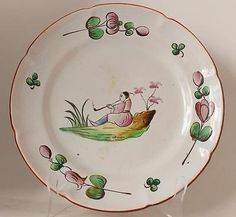 Antique French Faience Wall Plate/Plaque Les Islettes Luneville c. early 1800s
