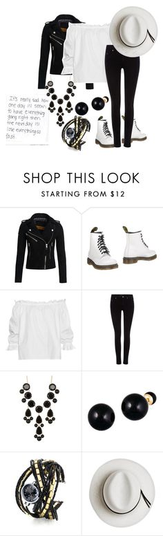 """Loose to the Black and White"" by simplegirl-1-16 ❤ liked on Polyvore featuring Superdry, Dr. Martens, Isolda, Maison Scotch, Natasha Accessories, Lord & Taylor and Calypso Private Label"