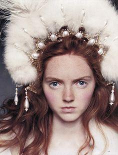Lily Cole by Arthur Elgort for UK Vogue November 2004