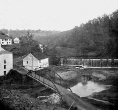 Hollins Mill & dam, vintage view - Lynchburg, Virginia   Hollins Mill, bridge and dam on Blackwater Creek.  This image is part of the RetroWeb Visual History of Lynchburg, Virginia