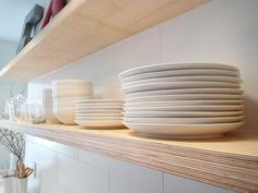 this plywood edge floating shelves. these are the ones i want in my kitchen!!