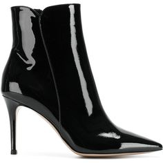 Gianvito Rossi Patent Leather Boots (€830) ❤ liked on Polyvore featuring shoes, boots, black, pointed-toe boots, black ankle bootie, pointy-toe ankle boots, patent leather boots and short boots