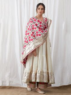 Buy Off White Cotton Gota Anarkali with Green Block Printed Palazzo and Pink Dupatta - Set of 3 online at Theloom