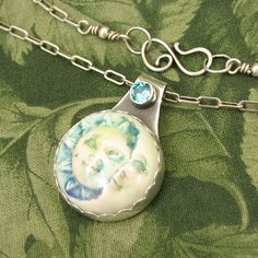 """Sun and Moon """"Friends"""" - Ceramic and faceted Blue CZ Sterling Pendant - OOAK by…"""