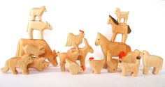 Animals of the farm wooden Waldorf toys by Baumstammbuch on Etsy, $140.00