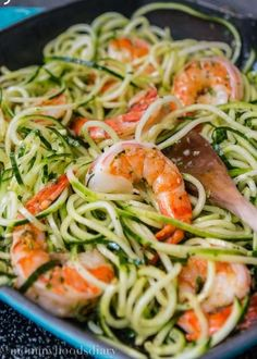 Cucumber Noodles with Garlic Shrimp- A simple healthy meal ready in less than 15 min./Love this. Simple and good. I doubled this recipe and took leftovers for my lunch. Will make again.