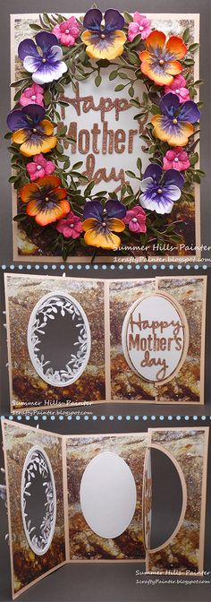 Summer Hills-Painter shared a gorgeous Mother's Day card with us on the blog! Summer used Karen Burniston's Oval Pull Card, Pull card Edges, and Happy Birthday Pop Up. She also used Els van de Burgt Studio's Alphabet 1-Caps, Alphabet 2-Lower Case, Fitted Ovals, Stitched Ovals, Through the Lens (Stone), and Leafy Branch. She decorated the front with Susan's Garden Club Garden Notes Pansy, Susan's Garden Club Geranium, and Garden Notes Grapevine Wreath Ovals.
