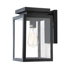 LNC Square Wall Sconce, Black Finish with Clear Glass Panels for Garden Patio Porch Garage Lighting, Outdoor Wall Lighting, Exterior Lighting, Wall Sconce Lighting, Home Lighting, Outside Garage Lights, Porch Wall, Front Porch, Front Doors