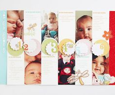 Record Baby's first six months in a layout that lists developmental details and showcases a favorite photo from each month