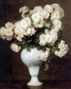 Georg Rueter (1875-1966)  White Roses in a Vase