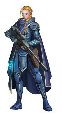 Half-Elf Steward Envoy/Soldier - Starfinder RPG (Core Rulebook Art)
