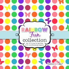 rainbow fun digital clipart collection and papers by hellolovetoo, $5.00