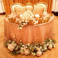 Stunning champagne sweetheart table