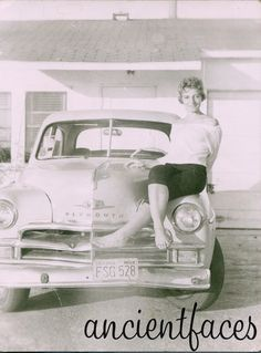 Carol David Maloff modeling on top of her Plymouth in San Clemente, CA 1958. Does anyone recognize the model - is it a Plymouth Savoy?  http://www.ancientfaces.com/research/photo/1250019/carol-david-maloff-ca-1958-family-photo